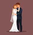 woman caress her man at wedding loved couple vector image