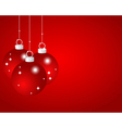 Red Christmas balls on a red background vector image