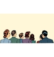 crowd spectators stand back vector image