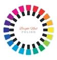 Group of nail polish bottles set in a circle vector image