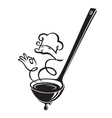 soup ladle and steam vector image vector image