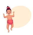 Cute little baby girl dancing happily vector image