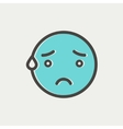 Exhausted smiley thin line icon vector image