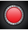Red chrome button vector image