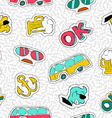 Retro hand drawn patch icon seamless pattern vector image