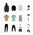 set of clothes top bottom shoes and accessories vector image