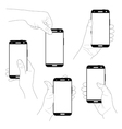 Set of hands with smartphones vector image
