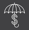 Business insurance line icon umbrella dollar sign vector image