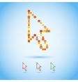 Multicolor arrow cursor in pixel style vector image