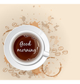 White cup of coffee and coffee beans vector image vector image