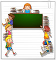 Frame with kids and a blackboard vector image