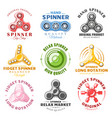hand spinner labels and logos vector image