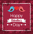 happy valentines day couple birds heart poster vector image
