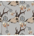 Seamless pattern with deer skull and dreamcatcher vector image