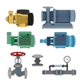 Set-water motor pump valves for pipeline vector image