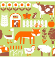 seamless pattern with farm and cute animals vector image vector image