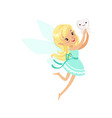cute cartoon blonde tooth fairy girl flying with vector image