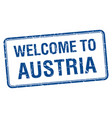 welcome to austria blue grunge square stamp vector image