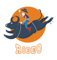 Rodeo symbolMan riding a bull vector image