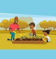 cheerful african american father and two kids vector image