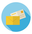 Flat Mail Envelope with Post Letter Circle Icon vector image