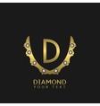 Golden D letters vector image