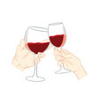 hand holding glass of wine vector image