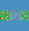 Santa claus christmas present seamless pattern set vector image