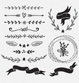 Set of hand drawn floral frames and dividers vector image