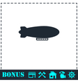 Airship zeppelin icon flat vector image