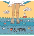 Summer card with legs in the sea vector image vector image