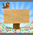 bird on wooden sign background vector image