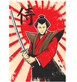 samurai vintage poster vector image vector image