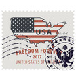 postage stamp with map of usa in colors of flag vector image vector image