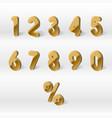 3d yellow golden numbers percent 0 1 2 3 4 vector image