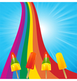 Ice lollies on a rainbow and blue sky vector image vector image