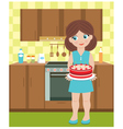 young woman with a pie vector image vector image