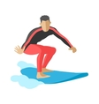 Surfer blue ocean wave getting barreled surfing vector image