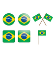 badges with flag of Brazil vector image vector image