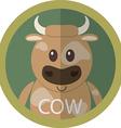 Cute brown cow cartoon flat icon avatar round vector image