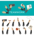 Teamwork banner with hands vector image