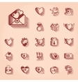 Valentines Day Retro Icon Set vector image