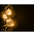 Dark golden Christmas balls with stars and vector image