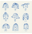 Vintage avatar sketches with hairstyles vector image
