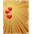 christmas background with shiny baubles vector image