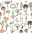Doodle mushrooms on a white background Seamless vector image