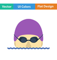 Flat design icon of Swimming man vector image