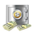 Money stack and safe concept vector image