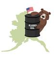 Oil Barrel Alaska map background Flag of United vector image