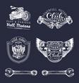 biker club signs motorcycle repair logos vector image